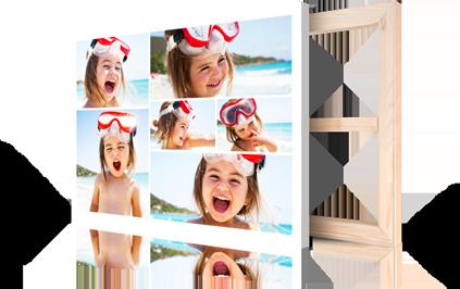 Collage sobre lienzo ejemplo niña en playa