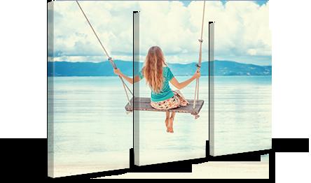 Foto lienzo en perspectiva triptico ejemplo atardecer en playa