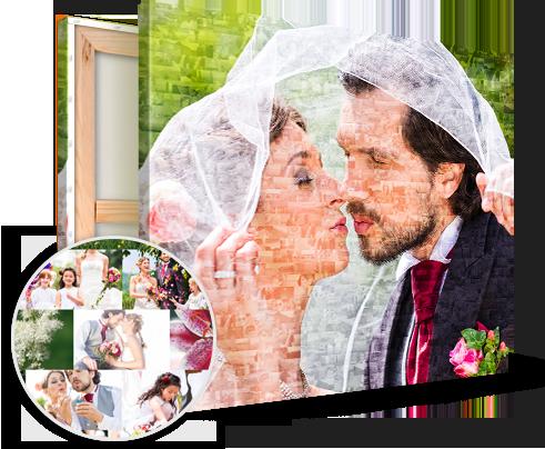 Mosaico de fotos ejemplo pareja de boda
