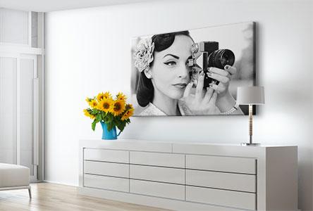 Salon foto lienzo ejemplo mujer con camara blanco y negro