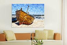 Salon foto lienzo mosaico ejemplo barco pequeño