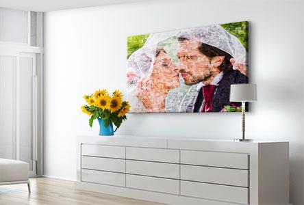 Salon foto lienzo mosaico ejemplo pareja novios