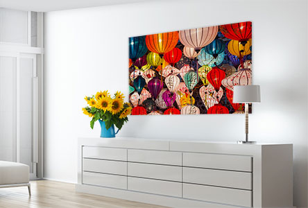 Salon foto poster ejemplo lamparas de colores