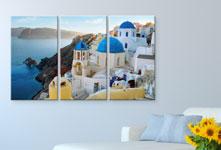 Triptico lienzo ejemplo ciudad junto al mar