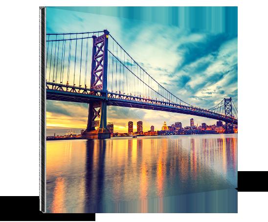 aterrizaje aluminio dibond ejemplo puente franklin