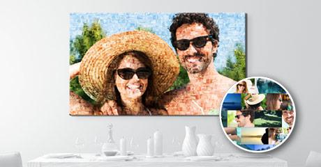 mosaico en lienzo salón ejemplo pareja